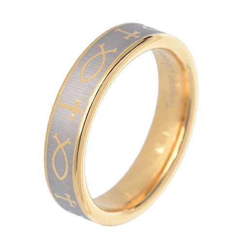 Etch Band - FlameReflection 5mm Christian Cross & Fish Etch Brushed Tungsten Carbide Rose Gold Plated Wedding Band Size 10