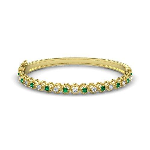 Bangle Emerald Gold Bracelets - 14K Yellow Gold Bracelet with Emerald & Diamond â€