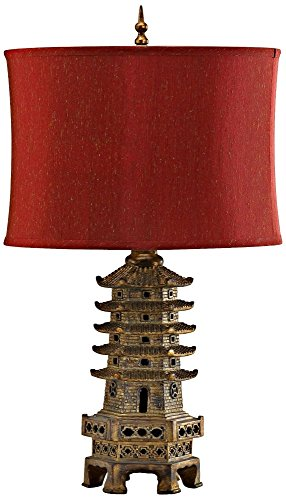 Cyan Design Pagoda Table Lamp - Resin with Red Fabric Shade