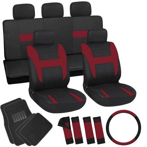 OxGord 21pc Set Flat Cloth Red/Black Auto Seat Cover Set - Universal Car, Truck, SUV, Van - Black Carpet Floor (Van Black Carpet)