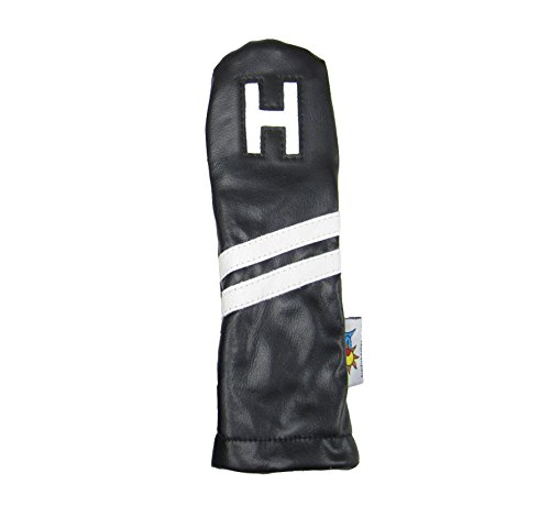 (Sunfish Leather Hybrid H Golf Headcover Black and White)
