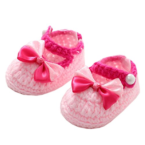 Koly Newborn Baby Girls Crib Crochet Handmade Knit Sock Infant Bowknot Prewalker Shoes 3 12 month