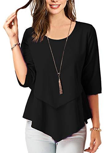 BETTE BOUTIK Women's Stitching Tunics Ruffles Hem Flowy Shirts Black Large by BETTE BOUTIK
