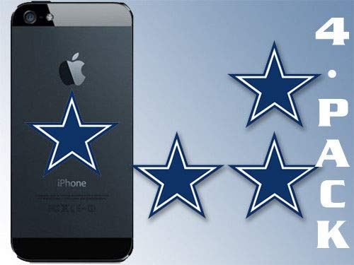(Crazy Discount Vinyl Sticker Decal 4 Pack Small Blue Star Dallas Cowboy Cell Logo Laptop dak 1.5x1.5)