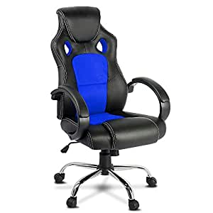 Racing Office Chair Sport Executive Computer Gaming Racer Desk Seat Work Home Deluxe PU Leather Mesh Adjustable Height Thick Pad Blue