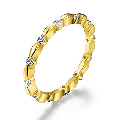 Esberry 18K Gold Plating 925 Sterling Silver Cubic Zirconia Stackable Rings CZ Simulated Diamond Eternity Ring Engagement Wedding Bands for Women (Yellow Gold, 5.5)