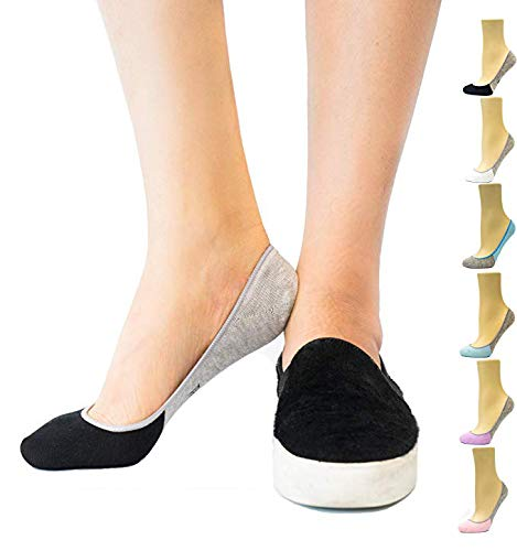 Thirty48 Women's Premium No Show Socks with Non Slip Grip(One Size (6-9), Black(3 Pairs))