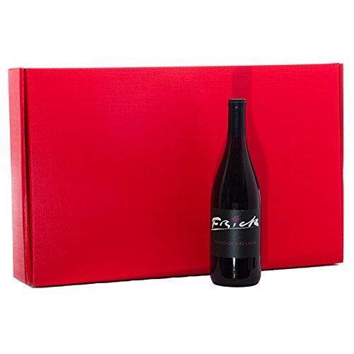 30ea - 22x3-1/2x13-3/8 Red Tab Lock Presentation Wine Box | Width: 3 1/2''