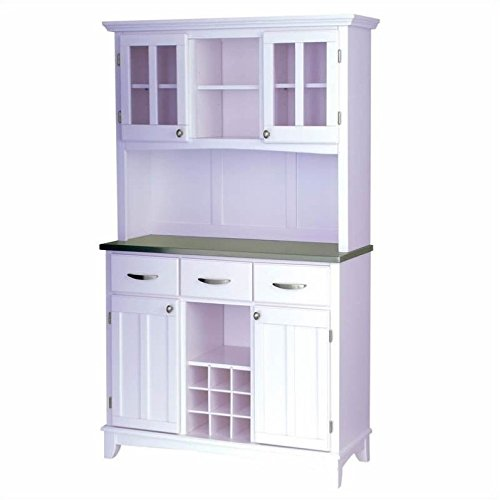 Home Styles 5100-0023-22 5001 Series Stainless Steel Top Buffet Server and Hutch, White Finish Buffets Natural Large Server