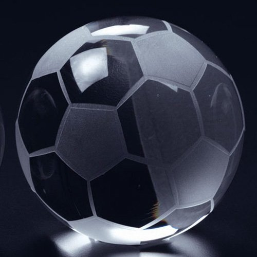 """Amlong Crystal Soccer Ball Paperweight 3.5"""" with Gift Box"""