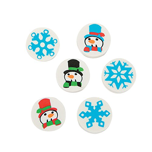 5 Dozen (60 Pcs.) - Mini Snowman & Snowflake Erasers - Basic School Supplies & Erasers
