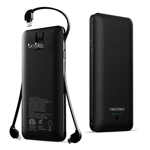 - Heloideo 10000mAh Power Bank Slim Portable Charger External Battery Pack with AC Plug and Micro Type-c Cables for All Cellphone(Black)