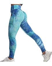 Msicyness Tiktok Leggings Women's High Waist Yoga Pants Butt Lift Tummy Control Leggings Textured Scrunch Booty Tights