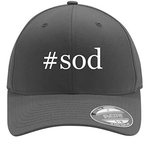 #sod - Adult Men's Hashtag Flexfit Baseball Hat Cap, Silver, Small/Medium