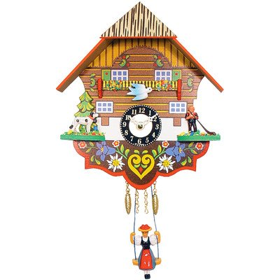 """Alexander Taron 0193SQ Engstler Battery-Operated Clock - Mini Size with Music/Chimes - 7.5"""" H x 6.75"""" W x 3.5"""" D Brown"""