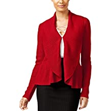 Cable & Gauge Womens Ribbed Ruffled Cardigan Sweater