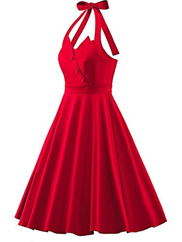 Vestidos Halter 50s Rockabilly Estampado de flores W705-Rojo