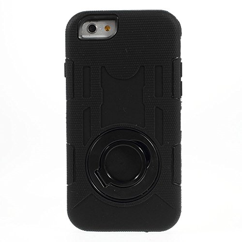 Apple iPhone 6étui de protection Coque d'extérieur en silicone étui support noir decui Noir Coque de protection en silicone
