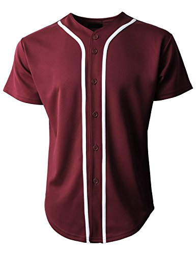 Hat and Beyond Mens Baseball Jersey Button Down T-Shirts Plain Short Sleeve 1UPB0001 (Medium, 1up01_Burgundy/White)