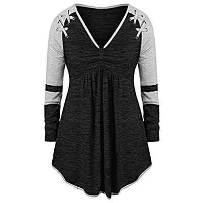 Women Plue Size Tops Fashion Long Sleeve V-Neck Blouse Ruched Patchwork Grommet Ribbons Color Block Shirt