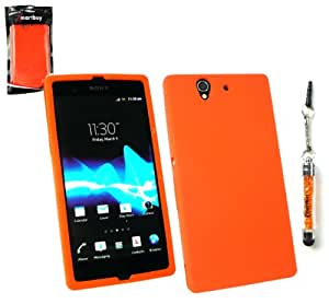 Emartbuy® Sparkling Stylus Pack For Sony Xperia Z Sparkling Mini Orange Stylus + Silicon Skin Cover/Case Orange + LCD Screen Protector