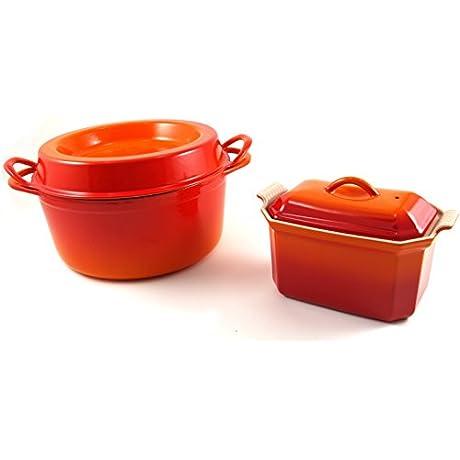 Le Creuset Flame Enameled Cast Iron Doufeu And Stoneware Pate Terrine Cookware Set