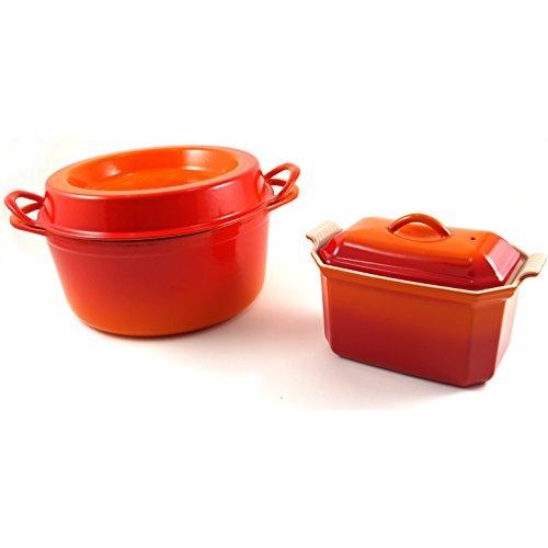 Le Creuset Flame Enameled Cast Iron Doufeu and Stoneware Pate Terrine Cookware -