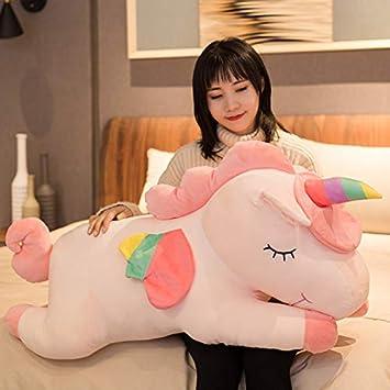 Muñeca De Unicornio, Sosteniendo Una Almohada Larga Muñeca De Peluche En Una Cama Para Dormir, Regalo De Cumpleaños 80 Cm Rosa