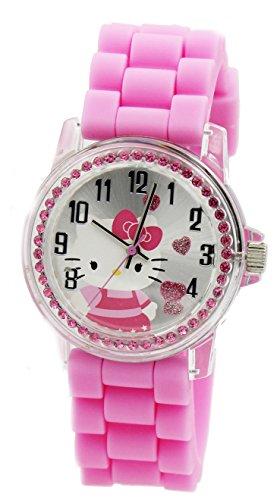 Sanrio Hello Kitty Women's Rhinestone Watch With Pink PU Band