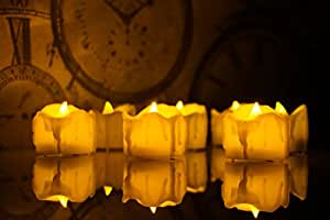 Exquisite LED Tea Lights - 24 Set Votive Candles - Long Lasting, Flameless, Battery Operated Tea Lights Warm Ambience, Realistic Candles for Household, Weddings, Spa, Home Decoration By Zest of Glow