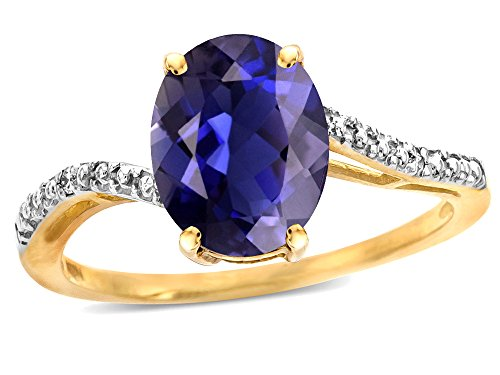 Star K Big Stone Oval 10x8 Genuine Iolite Bypass solitaire engagement promise ring 14k Yellow Gold Size 5.5 ()