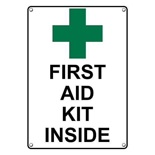 (Weatherproof Plastic Vertical First Aid Kit Inside Sign with English Text and Symbol)