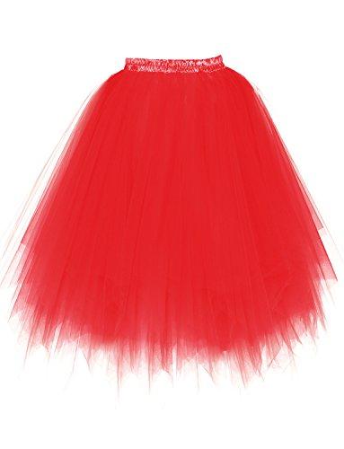 BeiQianE Femmes Annes 50 Long Jupon Multi-Couche Tulle Crinoline Slips Ballet Bubble Tutu Jupe 65 cm Rouge