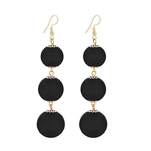Yanxyad Thread Ball Dangle Earrings Thread Dangle Earrings Soriee Drop Earrings Beaded Ball Ear Drop