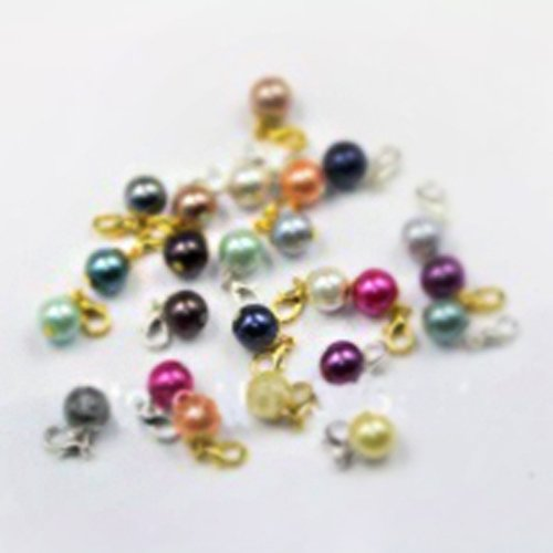 20PCS/LOT MIX 24 color silver and gold pearl dangle charm floating charms wholesale floating charm -