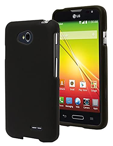 Optimus L70 Phone Case, Bastex Heavy Duty Snap On Case - Hard Black Rubberized Snap On Case Cover for LG Optimus (Lg L70 Optimus Black Cases)