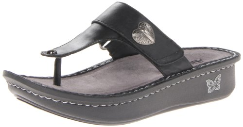 Alegria Women's Carina Wedge Sandal,Black Nappa,37 BR/7-7.5 M US (Black Nappa Leather Footwear)
