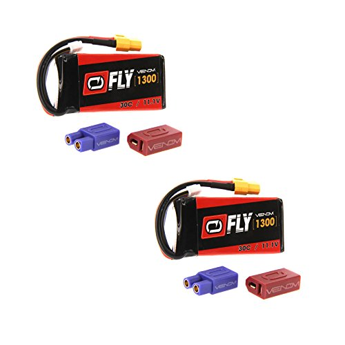 Venom Fly 30C 3S 1300mAh 11.1V LiPo Battery with UNI 2.0 Plug (XT60/Deans/EC3) x2 Packs Compare to E-flite (Flying Super Cub)