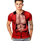 PASATO Men's Casual Funny 3D Muscle Printing Fitness Tee Elastic Short Sleeve T-Shirt Top Blouse(A-Red,M=US:S)