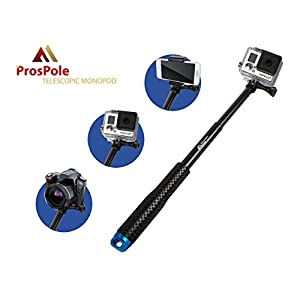 "ProsPole Extendable Pole an Aluminium Telescopic Monopod Extension & adjustable Selfie Stick for Gopro Hero 4 Session Black Silver Hero 2 3 3+ 4 and other Action Cameras (Blue - 20.5"")"