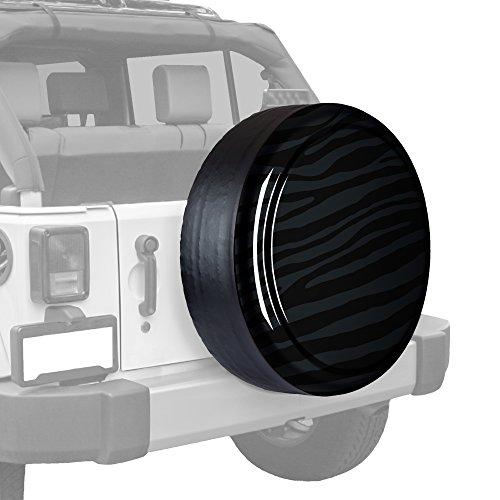 32'' Zebra Print - Color Matched Rigid Tire Cover (Plastic Face & Vinyl Band) - Jeep Wrangler (JK) - Rhino by Boomerang