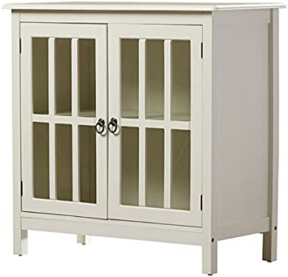 Amazon.com: Purdue Tempered Glass Cabinet with Wooden Top, Antique White:  Kitchen & Dining - Amazon.com: Purdue Tempered Glass Cabinet With Wooden Top, Antique