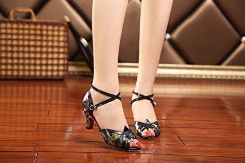 Crc Donna Elegante Peep Toe Stampa Floreale Sintetico Sala Da Ballo Morden Salsa Latino Tango Party Wedding Sandali Da Ballo Professionale Nero