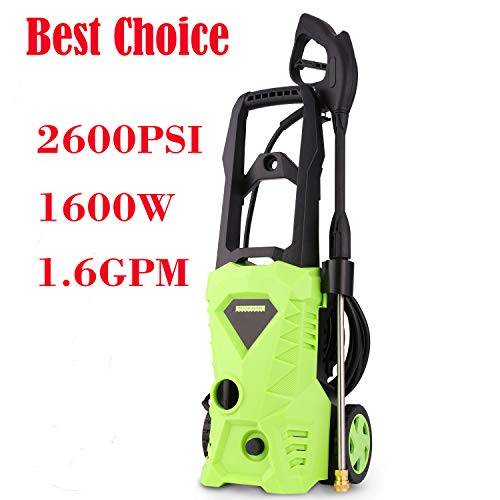 ncient NIS3500 High Pressure Power Washer 2600 PSI Electric Pressure Washer,1600W Rolling Wheels High Pressure Professional Washer Cleaner Machine+ (4) Nozzle Adapter (2600 PSI - Basic Model)