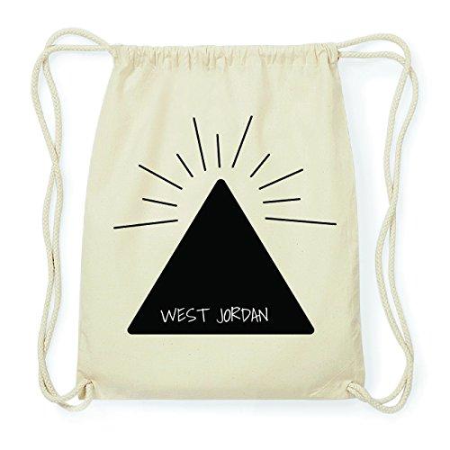 JOllify WEST JORDAN Hipster Turnbeutel Tasche Rucksack aus Baumwolle - Farbe: natur Design: Pyramide DOCjomibD