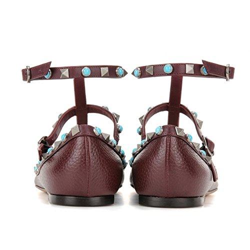 Chris-t Vrouwen Metalen Studs Strappy Gesp Puntige Teen Flats Comfortabele Kleding Pompen Schoenen 5-14 Ons Wijn
