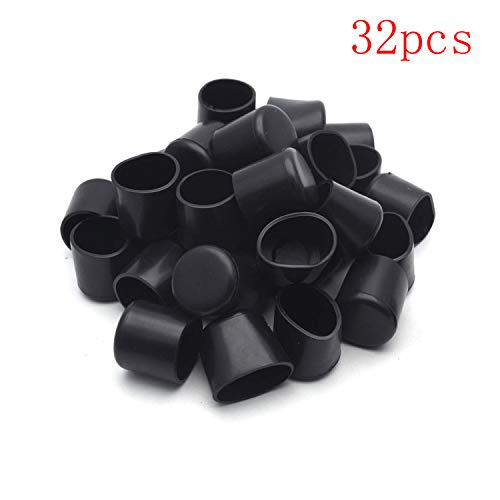(Antrader 3/4 Inches Plastic Furniture Chair Leg Tips Caps PVC Feet Floor Protector Pads Round Bottom Furniture Table Covers, Black, Pack of)