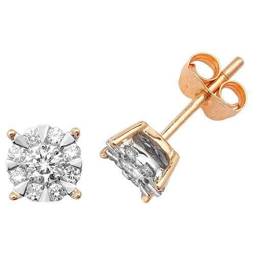 Boucles d'oreilles diamant brillant Gamme 9ct W I1-20,50carats