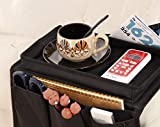 no!no! NONO Arm Rest Organizer with Table-Top, Sofa Couch Chair Armrest Caddy Pocket Organizer Great for Ipad, Remote, Game Controller, Newspaper, Book, Cups, Black