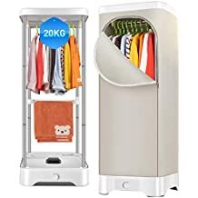 Portable Integrated Heater Family Wardrobe Dryer Multi-Function Clothes Dehumidifier Home Mute Air Conditioning with Automatic Timer 900w,Silver White